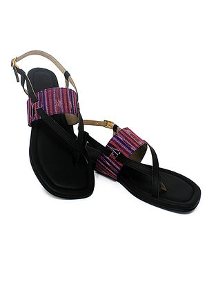 Black-Purple Handcrafted Ikat Cotton Flats