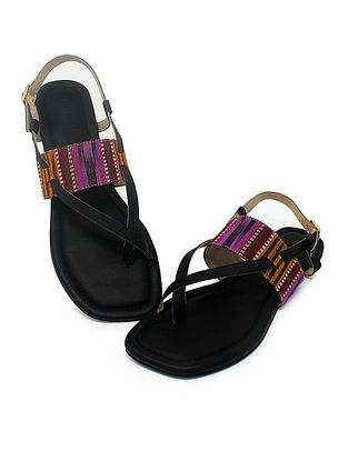 Black-Purple Hancrafted Ikat Cotton Flats