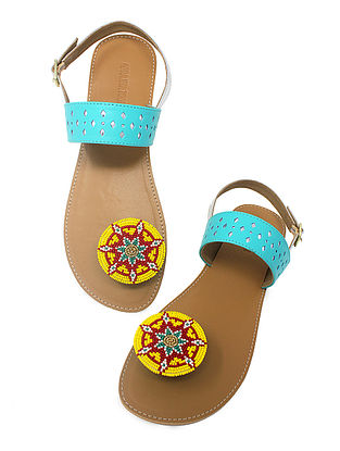 Blue-Beige Handcrafted Beads Embellished Flats