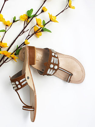 Tan Handcrafted Kolhapuri Box Heels with Embellishments