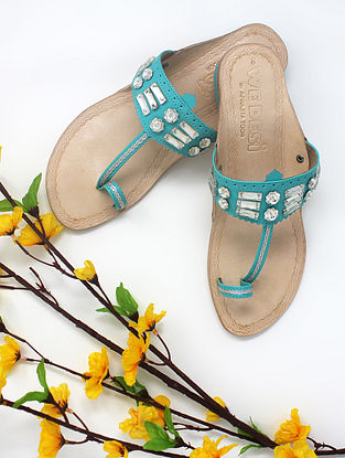 Aqua Blue Handcrafted Kolhapuri Box Heels with Embellishments