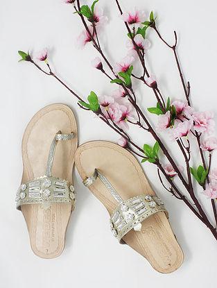 Champagne Handcrafted Kolhapuri Box Heels with Embellishments Maheshwari Rhythms