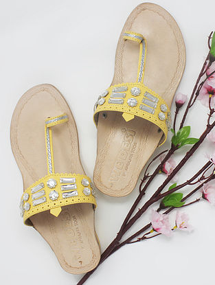 Yellow Handcrafted Kolhapuri Box Heels with Embellishments