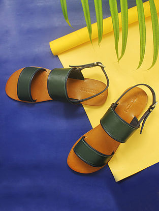 Green-Blue Handcrafted Leather Sandals