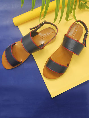 Blue-Maroon Handcrafted Leather Sandals