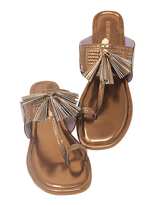 Copper Handcrafted Metallic Flats with Tassels