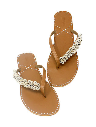 Beige Handcrafted Flats with Shell Embellishments Kolhapuris/Flats