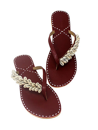 Maroon Handcrafted Flats with Shell Embellishments