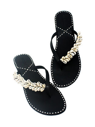 Black Handcrafted Flats with Shell Embellishments