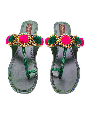 Green-Pink Handcrafted Leather Flats with Pom-Poms