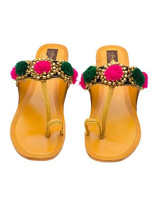 Yellow-Multicolored Handcrafted Leather Flats with Pom-Poms