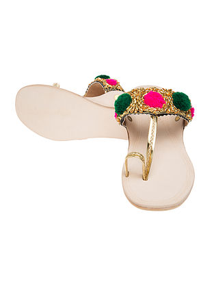 Beige-Multicolored Handcrafted Gotapatti Leather Flats with Pom-Poms