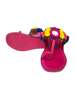 Pink-Multicolored Handcrafted Mirror Leather Flats with Pom-Poms