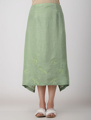Green Block-printed Bemberg Linen Skirt with Embroidery