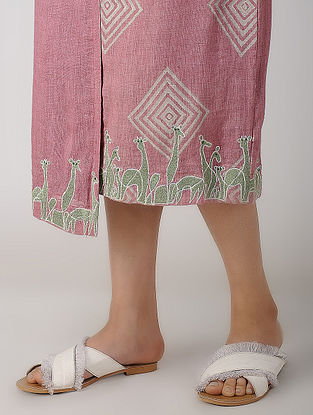 Pink Block-printed Linen Skirt with Embroidery