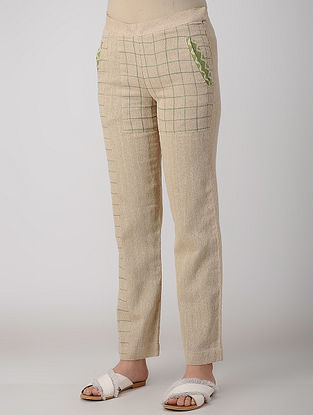 Beige Block-printed Chambray Pants