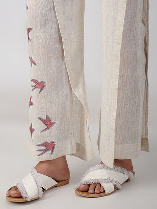 White Embroidered Linen Pants