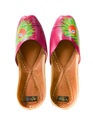 Multicolored Handpainted Leather Juttis
