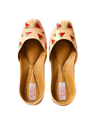 Peach Handpainted Leather Juttis