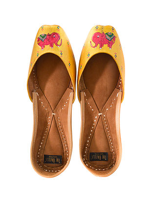 Yellow Handpainted Leather Juttis