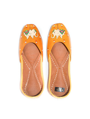 Orange-Multicolored Handpainted Leather Juttis