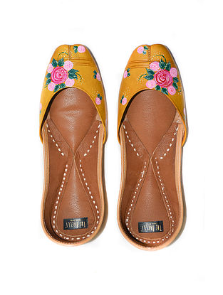 Dull Gold-Multicolored Handpainted Leather Juttis
