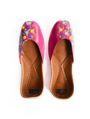 Pink-Multicolored Handpainted Leather Juttis