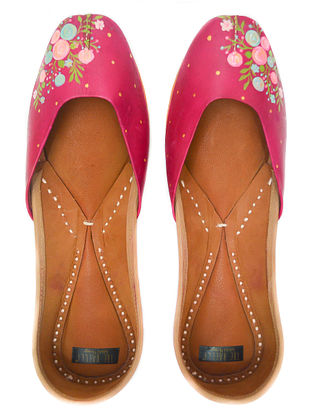 Pink Multicolored Handpainted Leather Juttis