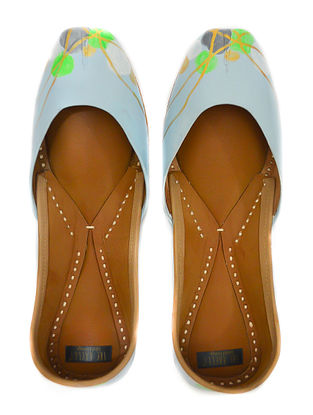 Blue Green Handpainted Leather Juttis