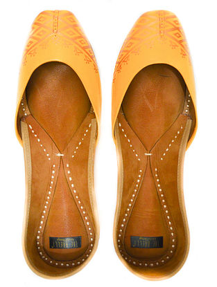 Mustard Handpainted Leather Juttis