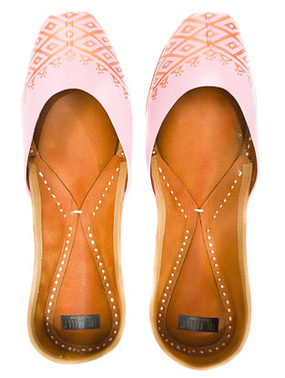 Baby Pink Handpainted Leather Juttis