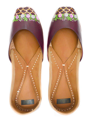 Deep mauve Handpainted Leather Juttis