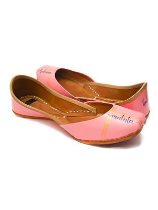 Pink Handpainted Leather Juttis