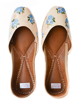 Peach Handpainted Leather Jutti