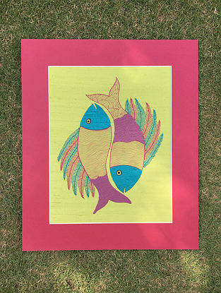 Gond Matsya Multicolored Embroidered Raw Silk Wall Mounted Tapestry (13.1in x 12.6in)