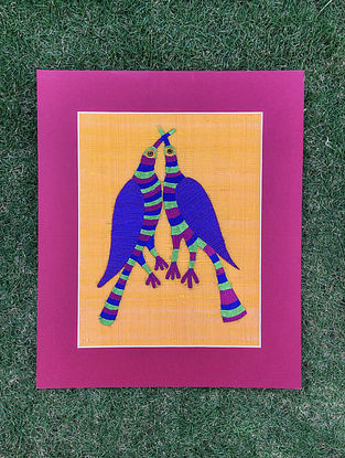 Gond Pakshi Multicolored Embroidered Raw Silk Wall Mounted Tapestry (15.6in x 13.1in)