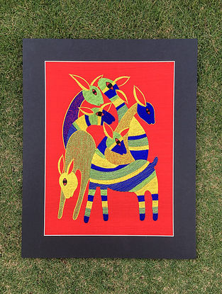 Gond Hiran Multicolored Embroidered Raw Silk Wall Mounted Tapestry (19.6in x 15.6in)