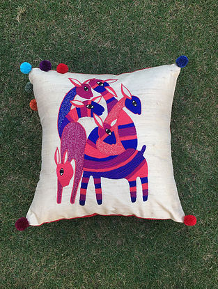 Gond Hiran White-Multicolored Embroidered Raw Silk Cushion Cover with Pom-pom