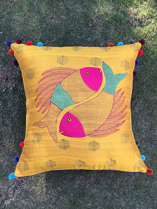 Gond Matsya Yellow-Multicolored Embroidered Raw Silk Cushion Cover with Pom-pom (20in x 20in)