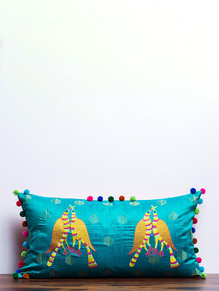 Gond Pakshi Teal-Multicolored Embroidered Raw Silk Cushion Cover with Pom-pom (27in x 13.5in)