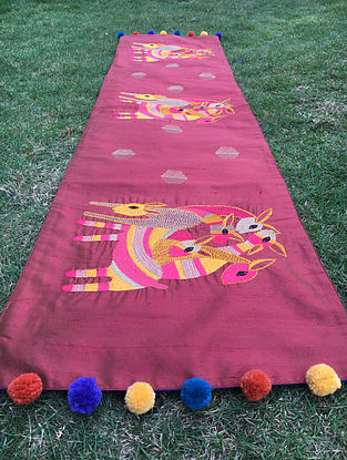 Gond Hiran Multicolored Embroidered Raw Silk Table Runner with Pom-pom (48in x 12in)