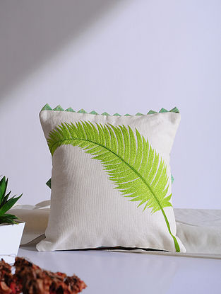 Areca Palm White Embroidered Linen Cushion Cover (12in x 12in)