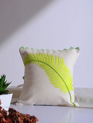 Areca Palm Lime White Embroidered Linen Cushion Cover (12in x 12in)