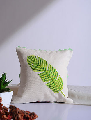 Banana Leaf White Embroidered Linen Cushion Cover (12in x 12in)