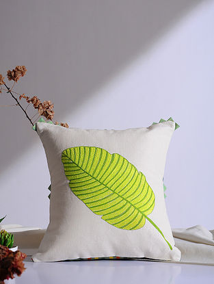 Bird of Paradise Leaf White Embroidered Linen Cushion Cover (16in x 12in)