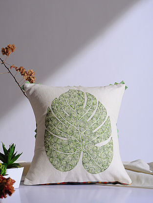Philodrenon Split Leaf White Embroidered Linen Cushion Cover (16in x 16in)