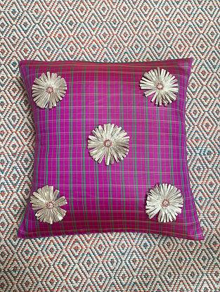 Gota Phool Pink Ilkal Kora Silk Cushion Cover (16in x 16in)