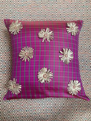 Gota Phool Pink Ilkal Kora Silk Cushion Cover (20in x 20in)