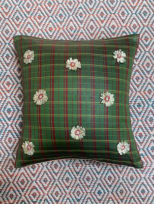 Gota Phool Green Ilkal Kora Silk Cushion Cover (12in x 12in)