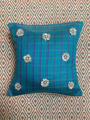 Gota Phool Blue Ilkal Kora Silk Cushion Cover (11.5in x 11.5in)